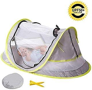 Cama de viaje portátil para bebé, tienda de campaña de playa, protección solar, con 2 clavijas plegables para bebé y mosquitera