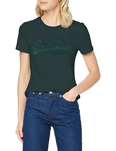 Superdry VL Tonal Emb tee Camiseta, Esmalte Verde, M para Mujer