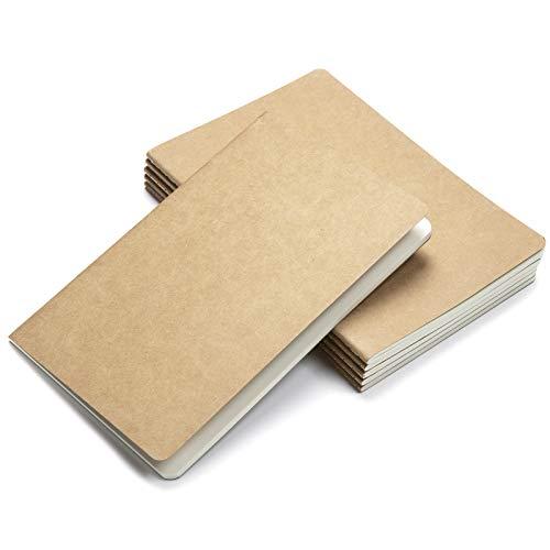 Wodasi Bloc de Notas A5, Notebook de Cubierta Kraft, A5 Tapa de Kraft Blanda 3 líneas y 3 Blanco 60 páginas, Cubierta de Kraft Diario de Viaje Libreta Hojas para Viajar, Escolar Escribir, 6Pcs