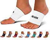 SB SOX Compression Arch Sleeves for Men & Women - Perfect Option to Our Plantar Fasciitis Socks - For Plantar Fasciitis Pain Relief and Treatment for Everyday Use with Arch Support (White, Medium)