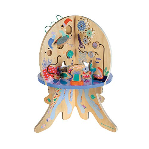 Manhattan Toy Deep Sea Adventure Wooden Toddler Activity Center with Spinning Gears, Gliders, Peekaboo Mirror and Bead Runs