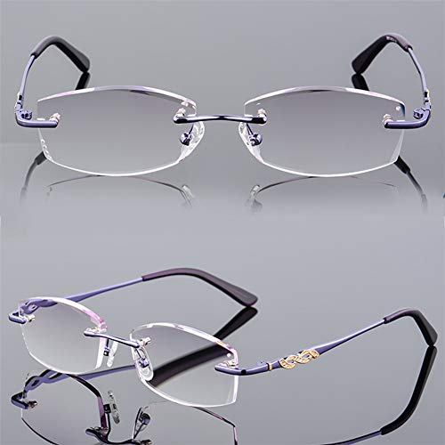 QQAA Lesebrille, Anti-Blaulicht Transparente Linse, Reduzieren Sie Kopfschmerzen Und Überanstrengung Der Augen, Stilvoll Für Frauen/Männer, Klare Sicht , Eleganter Rahmenloser Stil