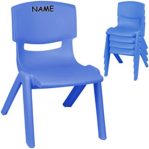 alles-meine.de GmbH 4 Stück - Kinderstühle / Stühle - Farbwahl - blau - inkl. Name - Plastik - bis 100 kg belastbar / kippsicher - für INNEN & AUßEN - 0 - 99 Jahre - stapelbar - ..