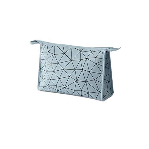 Xuyichangzhishi Neceser multifuncional de viaje para mujer, bolsa cosmética geométrica, impermeable portátil productos de tocador, bolsa novedosa-Light Blue-S