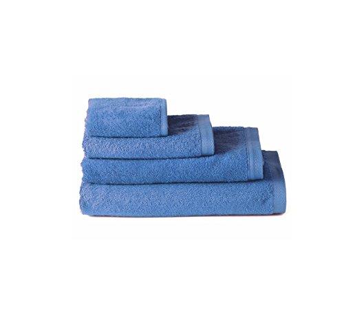 Pack 4 Toallas 30x50 cm azul 100% algodón rizo americano 550 gram/m2