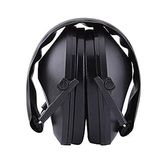 Orejas de Cancelación de Ruido Orejeras Acústicas de Protección Protectores Auditivos Defensores del Oído para Trabejo de Construcción Caza Disparos(Negro)