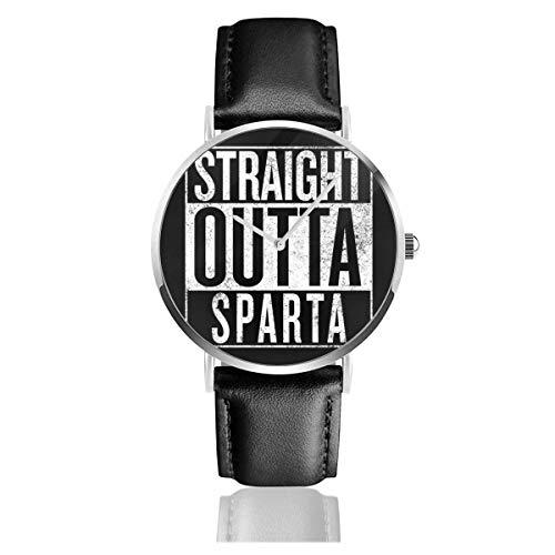Unisex Business Casual God of War Straight Outta Sparta NWA Relojes Reloj de Cuero de Cuarzo con Correa de Cuero Negro para Hombres Mujeres