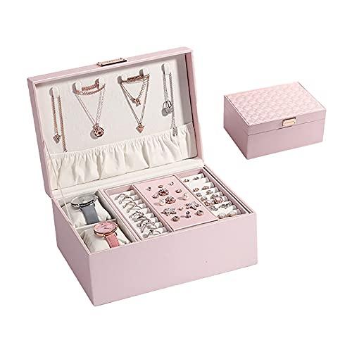 YiHao Organizador de Caja de joyería, Cuero de la PU Senior, Caja de Almacenamiento de Joyas de tamaño Mediano,Rosado