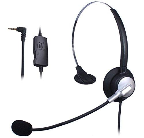 Wantek Mono Call Center Teléfono Auricular con 2.5mm Auricular Jack + Micrófono + Volume Mute Controls para Cisco Linksys SPA SPA921 SPA922 SPA941 303 501G 502G 504G 508G 509G IP Teléfonos(H110S01J25)