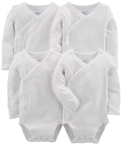 Simple Joys by Carter's Baby paquete de 4 body con broche lateral ,Blanco ,US NB (EU 56-62)