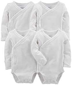 Simple Joys by Carter's Baby paquete de 4 body con broche lateral ,Blanco ,3-6 Months