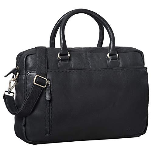 STILORD 'Fabius' Umhängetasche Herren Leder groß Vintage Laptoptasche 15.6 Zoll Aktentasche DIN A4 für Business Büro Arbeit Uni echtes Büffelleder, Farbe:schwarz