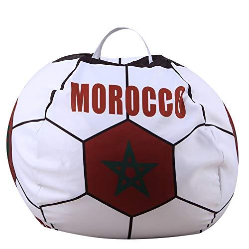 Youngshion Puf de lona con forma de fútbol mundial de 26 pulgadas, diseño de animales de peluche, banderas nacionales, para niños, de peluche, organizador, funda suave (Marruecos)
