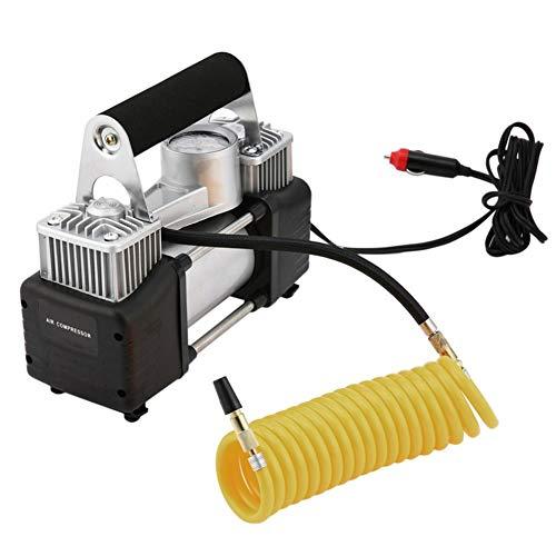 N / B Inflador de Coches de Dos Cilindros, inflador de neumáticos de Coche de 12VDC, Maleta, medidor de presión de neumático de Alta precisión, Manguera de extensión 3M, fácil de Usar