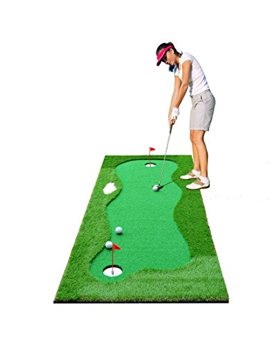 77tech Golf Putting Green System Professional Practice Large Indoor/Outdoor Challenging Putter Made of Waterproof Rubber Base Golf Training Mat Aid Equipment