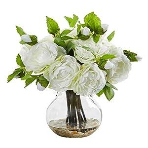 for Camellia Artificial Arrangement in Vase White Flower Decor 11″ Floral Décor Home & Garden