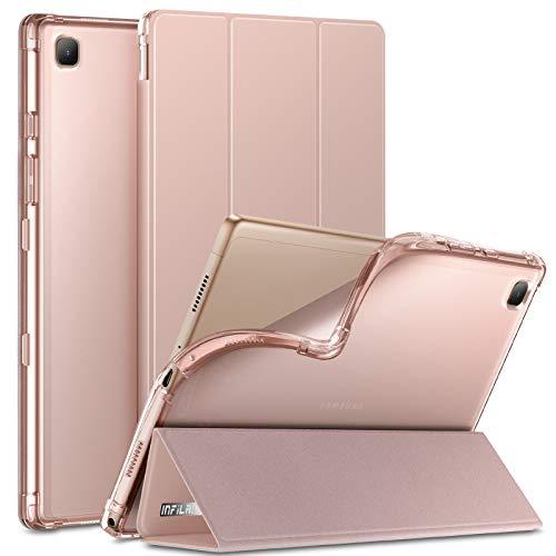 INFILAND Funda para Samsung Galaxy Tab A7 10.4 2020, TPU Suave Funda Transparente para Galaxy Tab A7 10.4 Pulgadas (T500/T505/T507) 2020, Rosa Dorado
