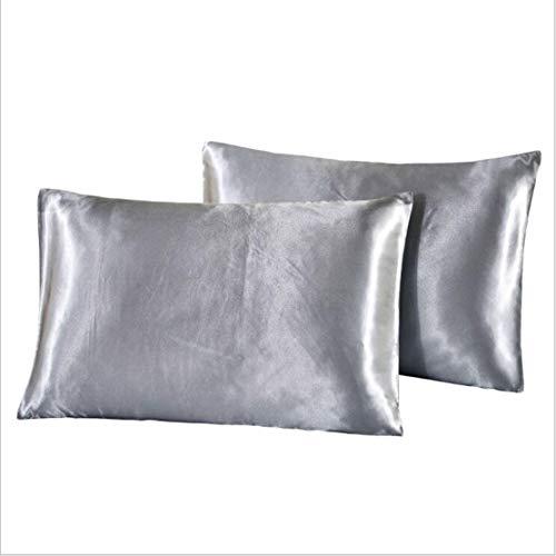 YSINFOD Sommerkissenbezug Both Sides Silk Pillowcase Kissenbezug für Haar- und Gesichtsschönheitsverschluss, grau