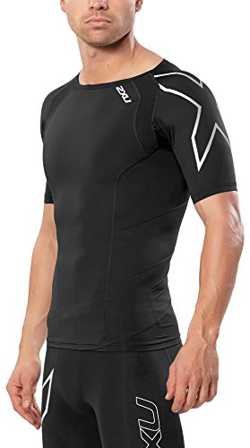 2XU Men's Short Sleeve Compression Top, Black/Silver, Medium