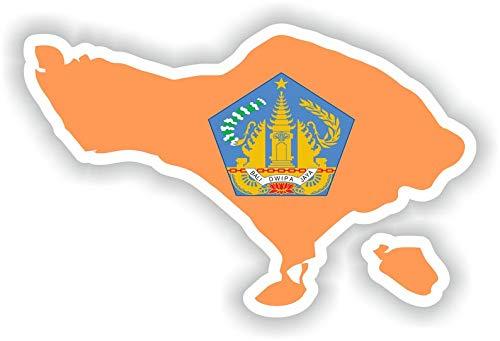 Bali Indonesië kaart Vlag Vinyl Sticker voor Auto Motorfiets Fiets Bagage Skateboard Laptop Gitaar Stickers - 4 Inch