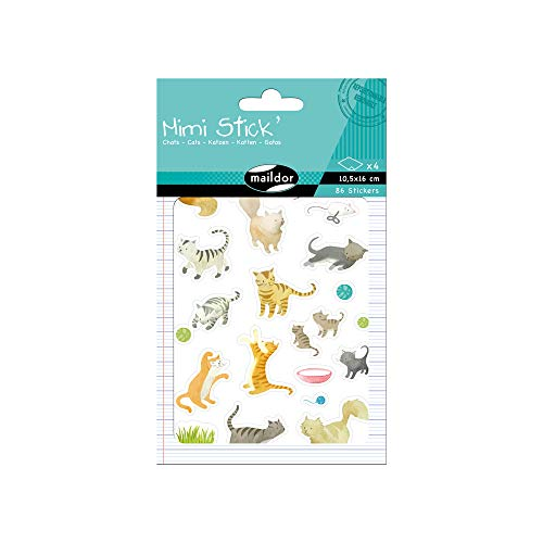Maildor AE018O Packung mit 86 Stickers Mini Stick (sind ideal für Kinder ab 5 Jahren, 4 Blätter in Format DIN A6, 10,5x 14,8 cm, Katze)