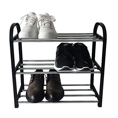 JZHHRPP 3 Schichten Schwarz Schuhregal Kunststoff Schuhregal kleines Schuhregal einfache Schuhregal Montage Schuhregal 42X19X43