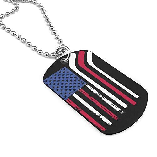 90ioup Amerikanische Flagge mit Hockeyschlägern Militär Halskette Dog Tag Edelstahl Kette Anhänger Schlüsselanhänger, Zinklegierung, weiß, Einheitsgröße
