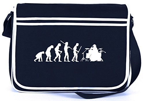 Shirtstreet24, EVOLUTION DRUMMER, Schlagzeuger Retro Messenger Bag Kuriertasche Umhängetasche, Größe: onesize,Navy