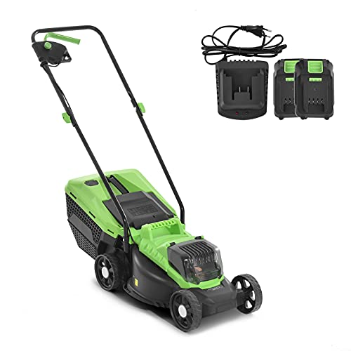 Cordless Electric Lawnmower, 32cm Cutting Width Height Adjust Rotary Lawn mower, 30L Grass Box Mower with Battery and Charger, Lightweight Grass Cutter for Home Gardens Lawns Grass Cutting