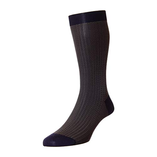 Pantherella Men's Mid Calf Fabian Herringbone Dress Socks, Navy, Medium