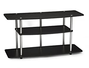 Contemporary, wide 3-tier TV stand for 42-inch LCD or plasma screen television Laminate fiberboard construction with black wood-grain finish; brushed stainless-steel support posts Space for DVD player, cable box, and other AV components on lower shel...