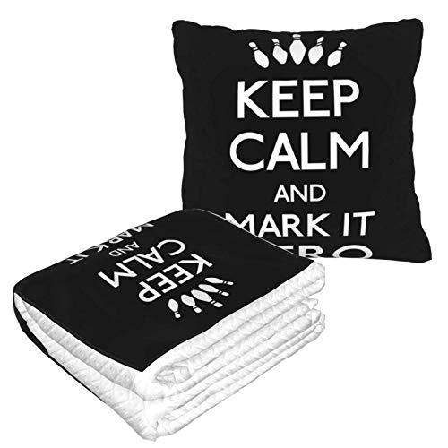 Keep Calm and Mark It Zero Big Labowski Reisedecke und Kissen, 2-in-1, Flugzeugdecke, Reise-Nackenkissen und Decke