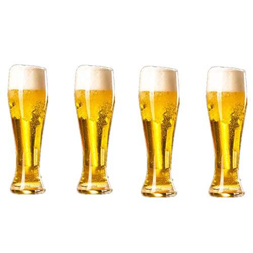 Jarra de cerveza de vidrio de 4 piezas, cristalería creativa, jarra jugo, tetera vidrio sin plomo de 600 ml, gruesa y duradera, adecuada para amigos que tienen reuniones al aire libre con la familia
