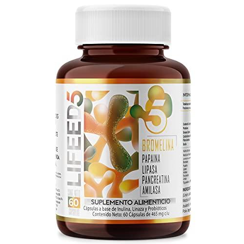 LIFEED Multi Enzimas Digestivas (Bromelina, Papaina, Lipasa, Pancreatina, Amilasa) + Probióticos 25 billones + Linaza | Cápsulas 60...