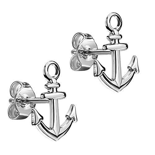 JEVELION - Pendientes de ancla marítima de plata de ley 925 para mujer