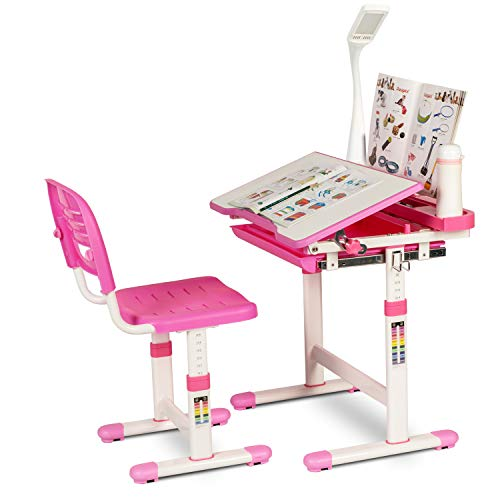 Urest Children Desk Height Adjustable Kids Desk and Chair Set, Children Study Table, Kids Interactive Workstation W/LED Lamp, Drawer Storage, Tilting Surface, Bookstand, for Ages 3 to 12, Pink