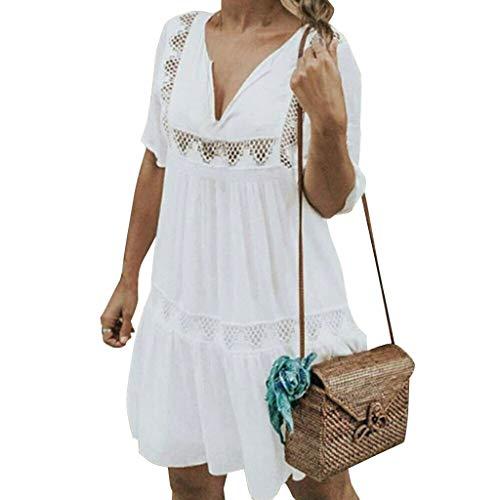 VEMOW Faldas Mujer Vestido Corto Bohemio con Cuello en V de Las Mujeres Vestido de Verano Informal de Playa Hueco Hueco Corto
