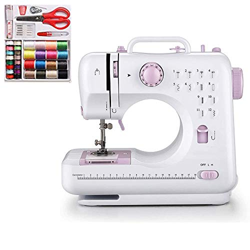 HODLEX Portable Sewing Machine With sewing kit Basic Easy to Use for Adults and Kids,12 Built-in Stitches, 2 Speeds Double Thread Multifunction Electric Household Hand held Mini Sewing Machine (505(purple))