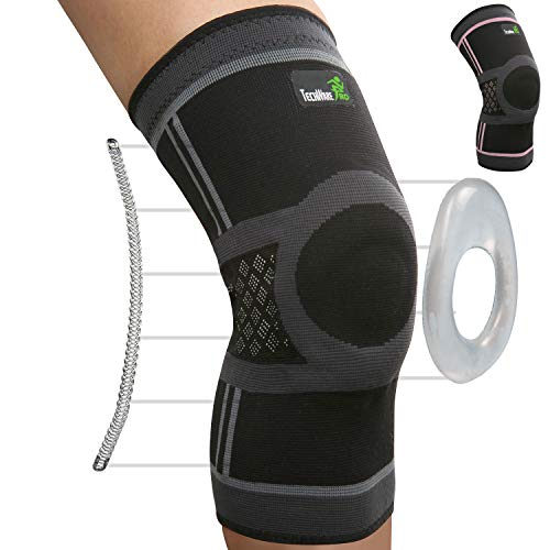 TechWare Pro Knee Compression Sleeve - Knee Brace for Men & Women with Side Stabilizers & Patella Gel Pads for Knee Support. Meniscus Tear, Arthritis, Joint Pain Relief. Blk/Gry Large