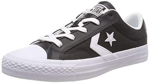 Converse Chucks 159780C Black Star Player in Pelle Ox Nero Bianco Bianco, Taglia:36