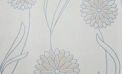 Muster-Vinyl-tapete mit Blumenmuster spaltbar in weiß, beige, silber