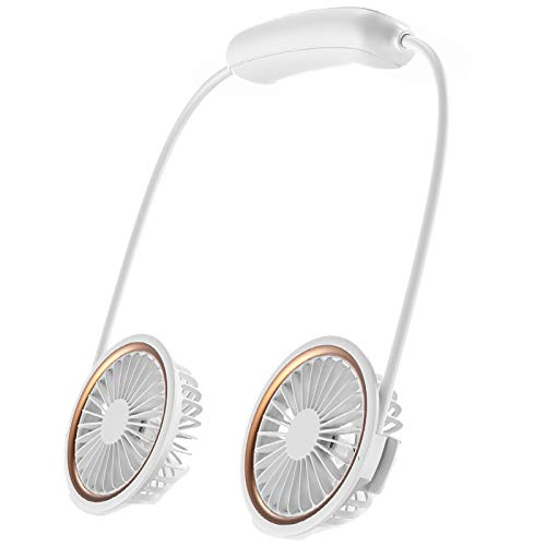 Timagebreze Ventilador de Cuello Colgante de 7 Cuchillas Actualizado, Ventilador Deportivo PortáTil Recargable por USB, Enfriador de Aire, Color Blanco