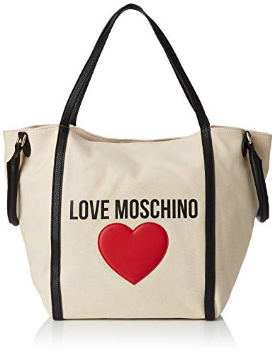Love Moschino Damen Borsa Canvas E Pebble Pu Henkeltasche, Schwarz (Nero), 20x32x46 centimeters