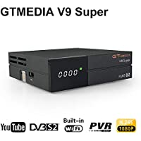 GT Media V9 Super DVB S2 Decodificador de Receptor de Satélite Digital Freesat H.265 1080P Full HD WiFi Incorporado Compatible con Ccam, Newcam, IPTV, Youtube, PVR, PowerVu, Dre y Biss Clave