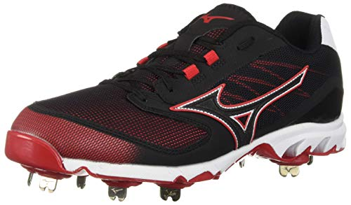 Mizuno Herren 9 Spike Dominant IC Low Metal Baseball Cleat Athletic Schuh, Herren, 320561.9010.09.0800, schwarz/red, 8