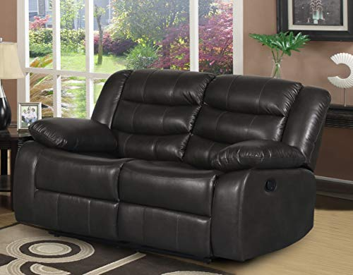 """Container Furniture Direct Adeline Mid Century Modern Leatherette Living Room Reclining Loveseat, 58.25"""" Dark Grey"""