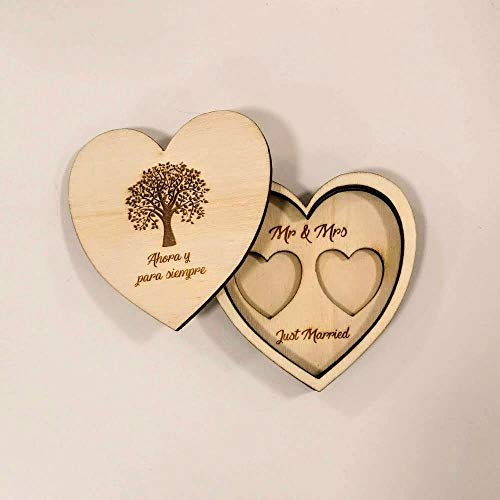 Windmill Sales, Inc. Caja para anillos de madera con árbol de la vida, fabricada en Italia