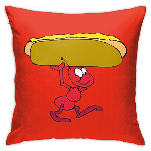EU Throw Pillow Case 45cm x 45cm Ant with Hot Dog Pillowcase,Square Throw Covers,Decorative Cushion for Sofa Couch Car