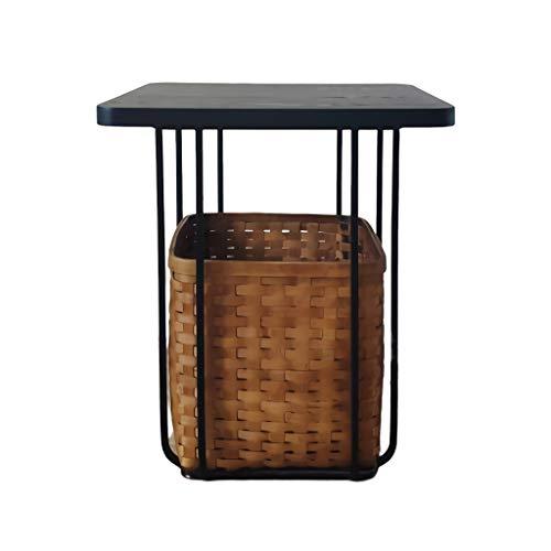 DJX Mesa de Centro Ronda de Estilo japonés Mesa de café, con bambú Almacenamiento Mesa Auxiliar Moderna sofá de la Sala al Lado de Mesa Mesas de Noche Accent Duradero (Color : Square)