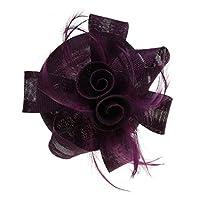 ABOOFAN 美しい弓の羽の装飾的な結婚式の頭飾りスタイリッシュなパーティーの髪飾り(紫)